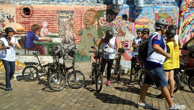 Passeio turístico gratuito com bicicletas elétricas na Vila Madalena