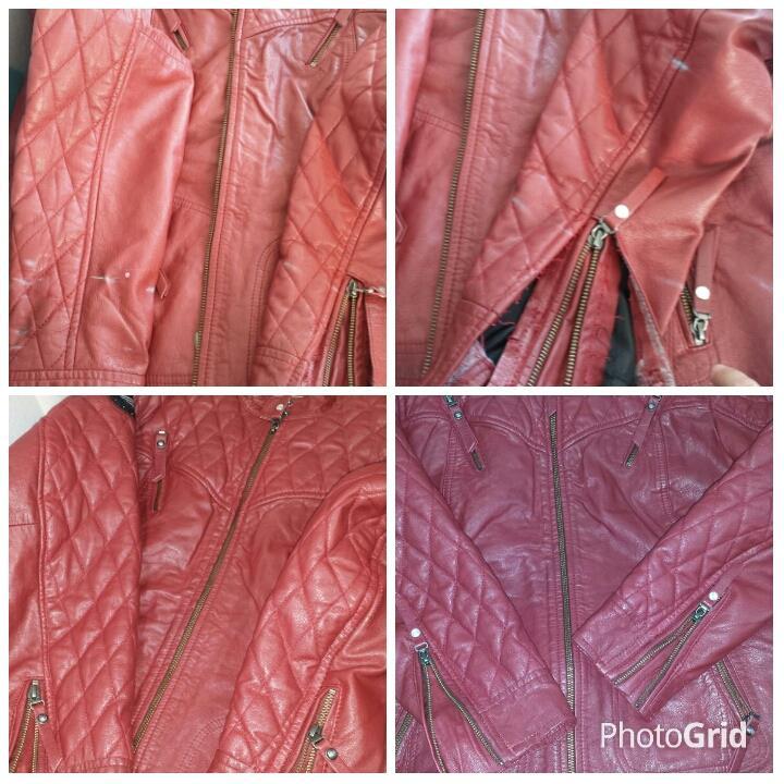 Jaqueta de couro tingida